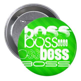 Boss; Neon Green Stripes 3 Inch Round Button