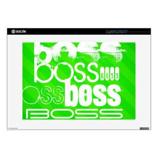 """Boss; Neon Green Stripes 15"""" Laptop Skin"""