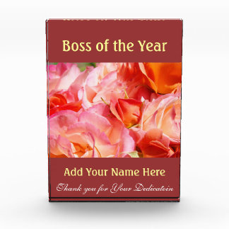 Boss of the Year Award Plaques Thank You Dedicated