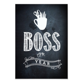 """Boss of to year 3.5"""" x 5"""" invitation card"""