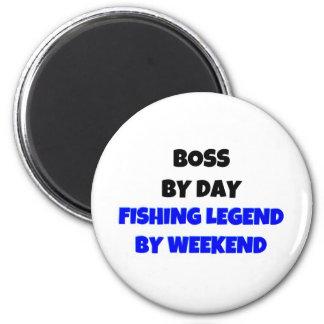 Boss por leyenda de la pesca del día por fin de se imán redondo 5 cm