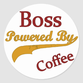 Boss Powered By Coffee Classic Round Sticker