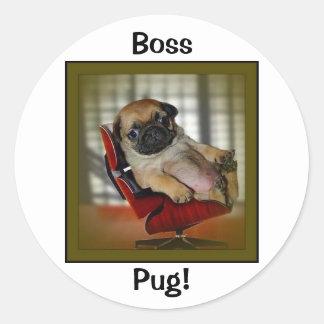 Boss Pug! Classic Round Sticker