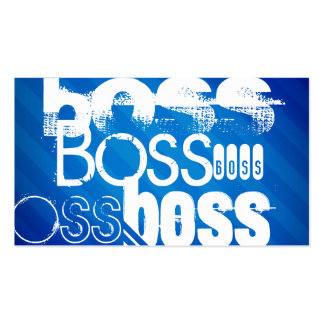 Boss; Royal Blue Stripes Double-Sided Standard Business Cards (Pack Of 100)