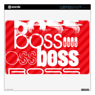 Boss; Scarlet Red Stripes Decal For MacBook Air