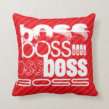 Boss; Scarlet Red Stripes Throw Pillows