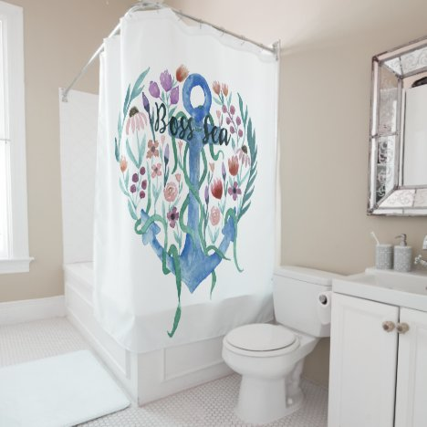 Boss Sea Quote Anchor Flowers Leaves Watercolor Shower Curtain