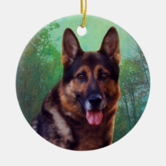 Boss the German Shepherd Double-Sided Ceramic Round Christmas Ornament