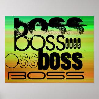 Boss; Verde vibrante, naranja, y amarillo Póster