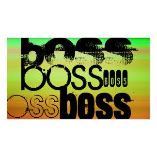 Boss; Vibrant Green, Orange, & Yellow Business Card