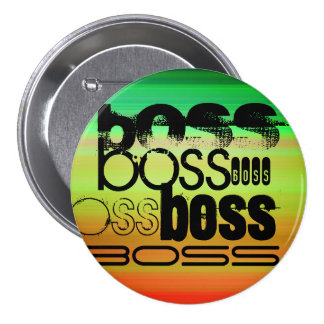 Boss; Vibrant Green, Orange, & Yellow 3 Inch Round Button