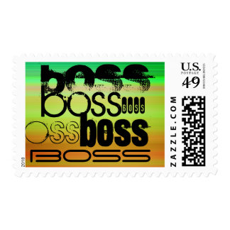 Boss; Vibrant Green, Orange, & Yellow Postage