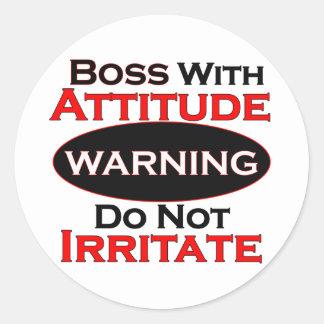 Boss With Attitude Classic Round Sticker