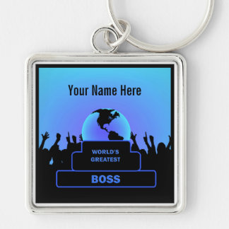 Boss World Cheers Award Blue Custom Keychain