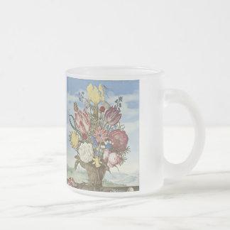 Bosschaert Flowers Frosted Glass Coffee Mug