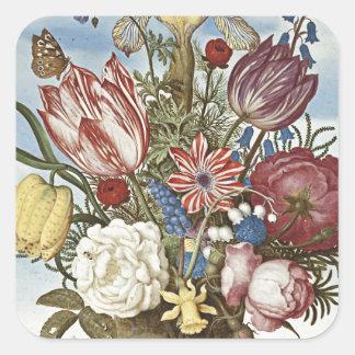 Bosschaert Flowers Square Sticker