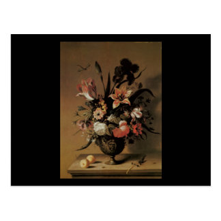 Bosschaert las flores más jovenes en un florero de postal