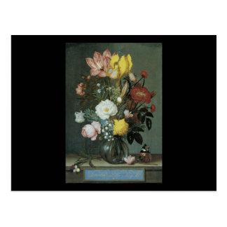 Bosschaert the Elder Boquet of Flowers in a vase Postcard