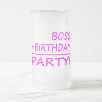 Bosses Birthdays : Boss + Birthday = Party Frosted Glass Beer Mug