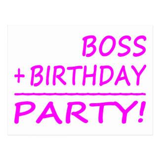 Bosses Birthdays : Boss + Birthday = Party Postcard