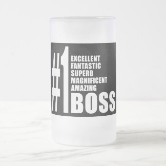 Bosses Birthdays Gifts : Number One Boss Frosted Glass Beer Mug