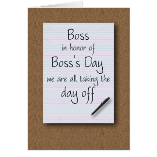 Boss's Day from employees Card