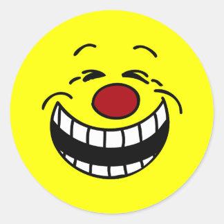 Bossy Smiley Face Grumpey Classic Round Sticker