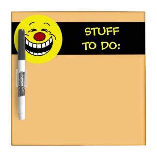 Bossy Smiley Face Grumpey Dry Erase Board