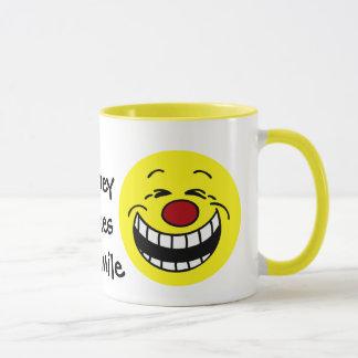 Bossy Smiley Face Grumpey Mug