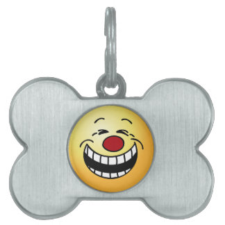 Bossy Smiley Face Grumpey Pet Name Tag