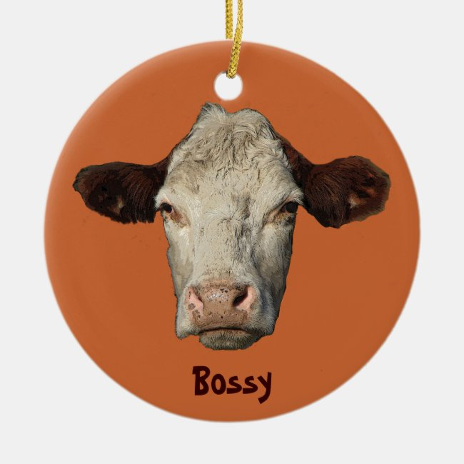 Bossy the Cow Christmas Ornament