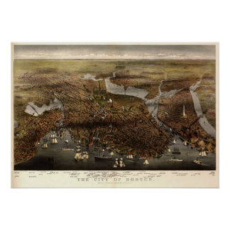 Boston - 1873 (párrocos y Atwater) BigMapBlog Póster