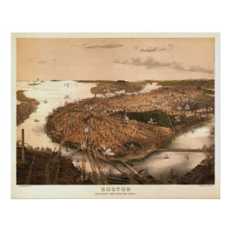 Boston 1877 Reproduction Lithograph Poster