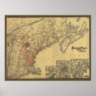 Boston 1898 al mapa del ferrocarril de Maine Posters