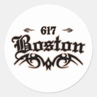 Boston 617 classic round sticker