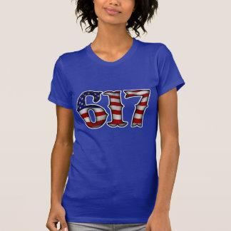 Boston 617 US Flag T Shirt