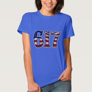 Boston 617 US Flag Tee Shirt