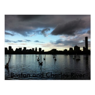 Boston and Charles River Sunset Postcard