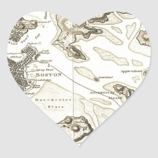 Boston and Its Environs Circa 1800 Heart Stickers