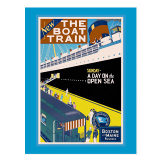 """""""Boston and Maine"""" Vintage Travel Poster Postcard"""