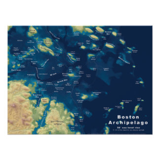 "Boston Archipelago--Drowned Cities Map, 24""x18"" Poster"