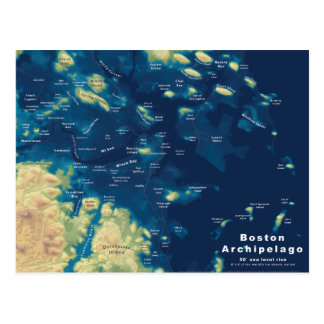 Boston Archipelago--Drowned Cities Map Postcard