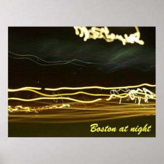 Boston at night poster