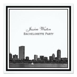 """Boston Bachelorette enmarcado grabado al agua Invitación 5.25"""" X 5.25"""""""