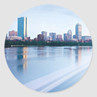 Boston Back bay across Charles River Classic Round Sticker