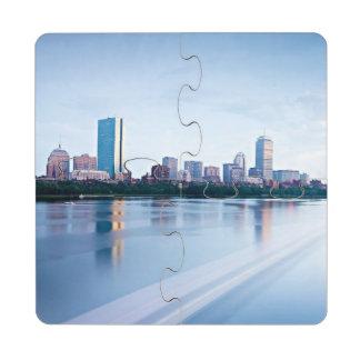 Boston Back bay across Charles River Puzzle Coaster