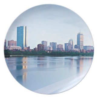 Boston Back bay across Charles River Party Plates