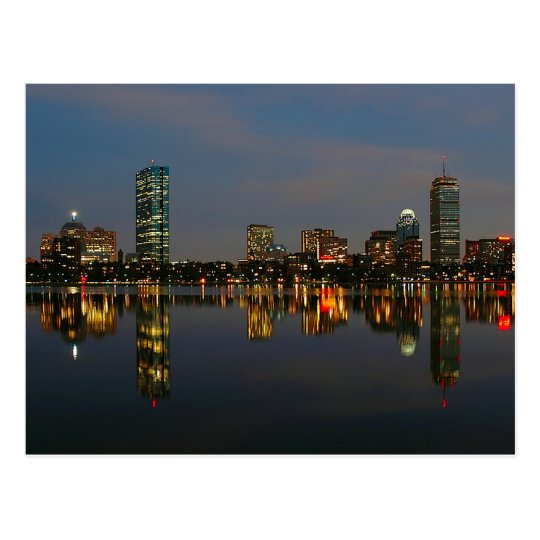 Boston Backbay at Night Postcard
