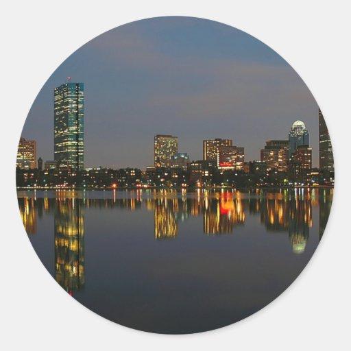 Boston Backbay at Night Round Stickers