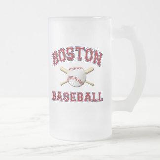 BOSTON BASEBALL FROSTED GLASS BEER MUG